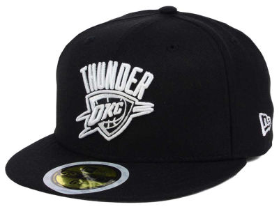 Oklahoma City Thunder New Era NBA Kids Black White 59FIFTY Cap