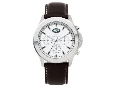 New York Jets Jack Mason Men's Chrono Leather Watch