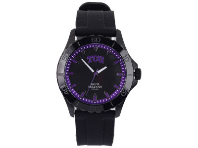 Texas Christian Horned Frogs Men's Blackout Silicone Strap Watch