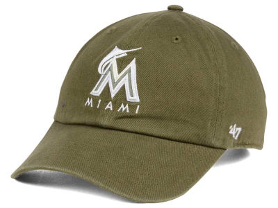Miami Marlins '47 MLB Olive White '47 CLEAN UP Cap