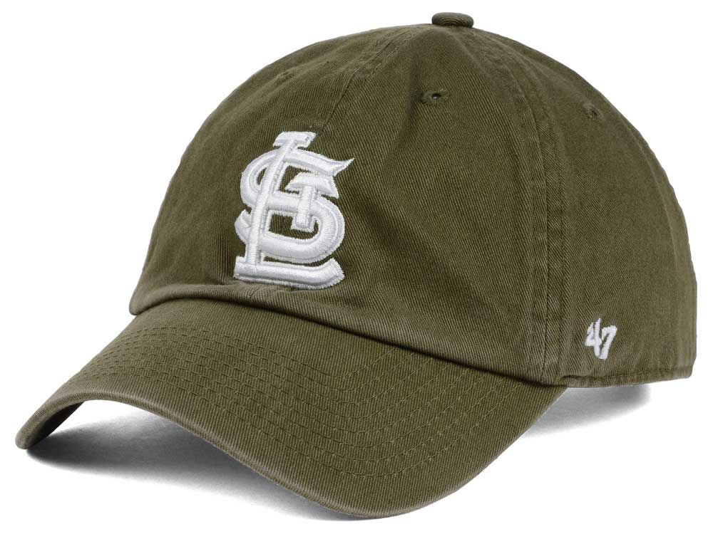 buy online 0d7a5 1b302 new zealand st. louis cardinals 47 mlb olive white 47 clean up cap 3557d  a1353