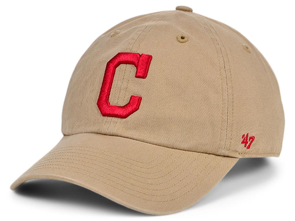 newest e5858 35cec ... where to buy cleveland indians 47 mlb khaki 47 clean up cap lids 649e3  0e518