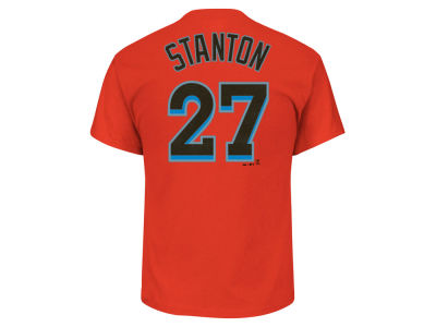 Miami Marlins Giancarlo Stanton Majestic MLB Men's Official Player T-Shirt