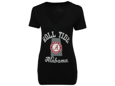 Alabama Crimson Tide MYU NCAA Women's State Glitter T-Shirt