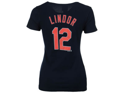 Cleveland Indians Francisco Lindor Majestic MLB Women's Crew Player T-Shirt
