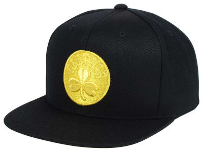 Boston Celtics Mitchell and Ness NBA All Gold Logo Snapback Cap