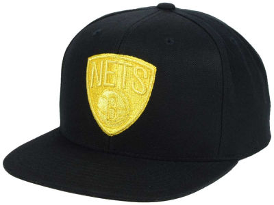 Brooklyn Nets Mitchell and Ness NBA All Gold Logo Snapback Cap