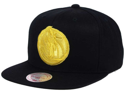 Dallas Mavericks Mitchell and Ness NBA All Gold Logo Snapback Cap