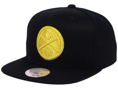 Denver Nuggets Mitchell and Ness NBA All Gold Logo Snapback Cap