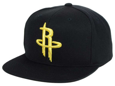 Houston Rockets Mitchell and Ness NBA All Gold Logo Snapback Cap