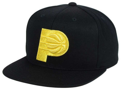 Indiana Pacers Mitchell and Ness NBA All Gold Logo Snapback Cap