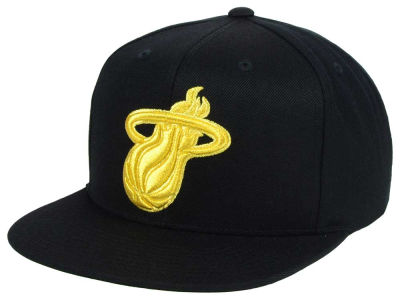 Miami Heat Mitchell and Ness NBA All Gold Logo Snapback Cap