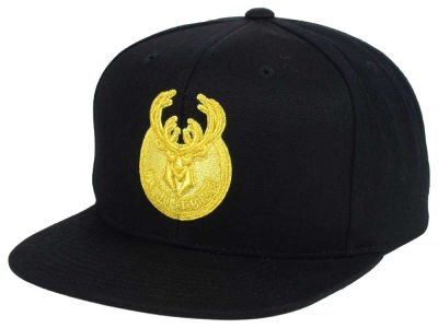 Milwaukee Bucks Mitchell and Ness NBA All Gold Logo Snapback Cap