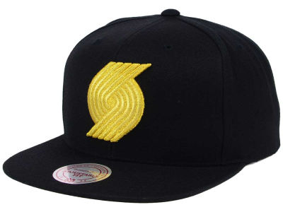 Portland Trail Blazers Mitchell and Ness NBA All Gold Logo Snapback Cap