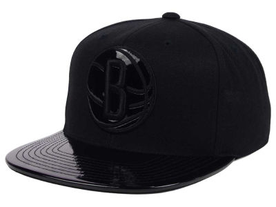 Brooklyn Nets Mitchell and Ness NBA Patent Black Out Snapback Cap
