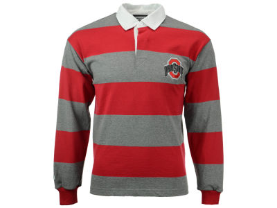 Ohio State Buckeyes NCAA Men's Casual Stripe Rugby Long Sleeve T-Shirt