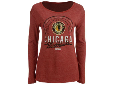 Chicago Blackhawks Reebok NHL Women's Vintage Circle Long Sleeve T-Shirt