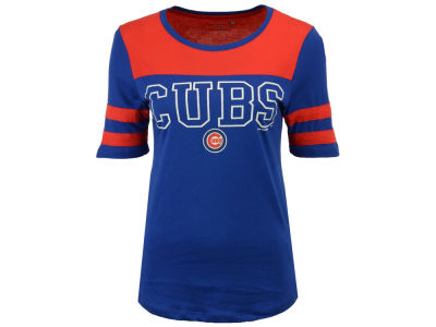 Chicago Cubs 5th & Ocean MLB Women's Glitter Yoke T-Shirt