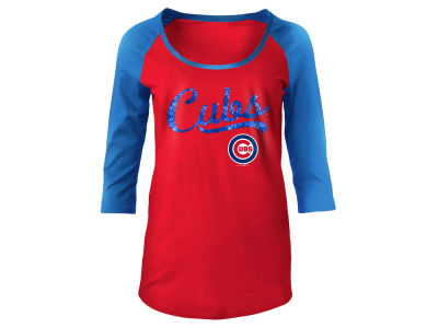 Chicago Cubs MLB Women's Sequin Raglan T-shirt