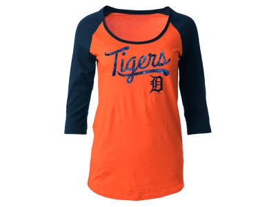 Detroit Tigers 5th & Ocean MLB Women's Sequin Raglan T-shirt