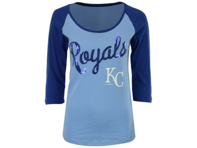 Kansas City Royals 5th & Ocean MLB Women's Sequin Raglan T-shirt