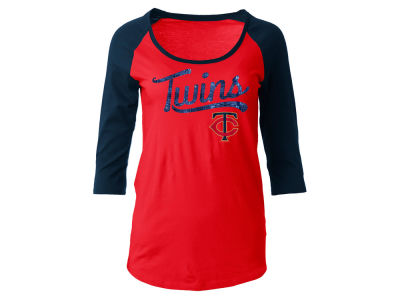 Minnesota Twins 5th & Ocean MLB Women's Sequin Raglan T-shirt