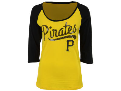 Pittsburgh Pirates 5th & Ocean MLB Women's Sequin Raglan T-shirt