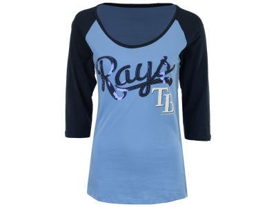 Tampa Bay Rays 5th & Ocean MLB Women's Sequin Raglan T-shirt