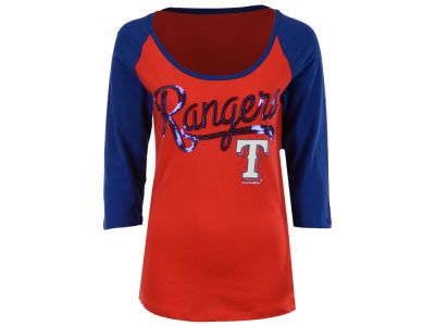 Texas Rangers 5th & Ocean MLB Women's Sequin Raglan T-shirt