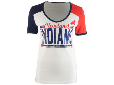 Cleveland Indians MLB Women's Space Dye Cool Base Yoke T-Shirt