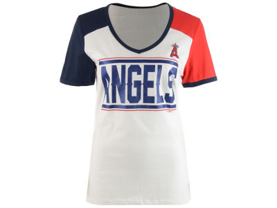 Los Angeles Angels 5th & Ocean MLB Women's Space Dye Cool Base Yoke T-Shirt