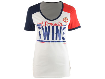 Minnesota Twins 5th & Ocean MLB Women's Space Dye Cool Base Yoke T-Shirt