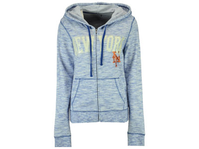 New York Mets 5th & Ocean MLB Women's Space Dye Hooded Sweatshirt