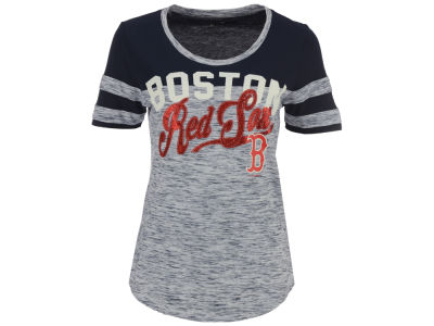Boston Red Sox 5th & Ocean MLB Women's Space Dye Cool Base Yoke T-Shirt