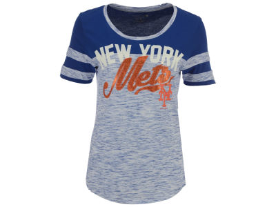 New York Mets 5th & Ocean MLB Women's Space Dye Cool Base Yoke T-Shirt