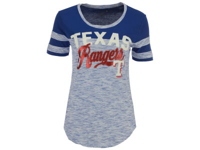 Texas Rangers 5th & Ocean MLB Women's Space Dye Cool Base Yoke T-Shirt