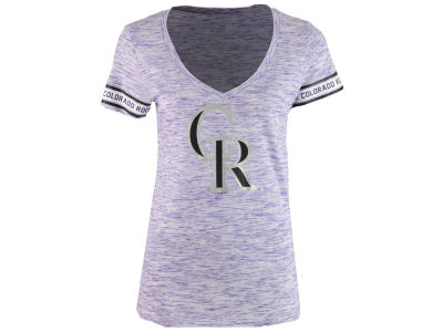 Colorado Rockies 5th & Ocean MLB Women's Space Dye Round Sleeve T-Shirt