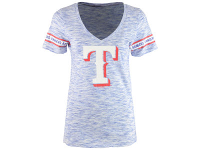 Texas Rangers 5th & Ocean MLB Women's Space Dye Round Sleeve T-Shirt