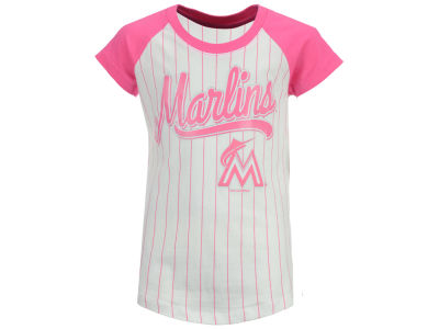 Miami Marlins 5th & Ocean MLB Girls Pinstripe T-Shirt
