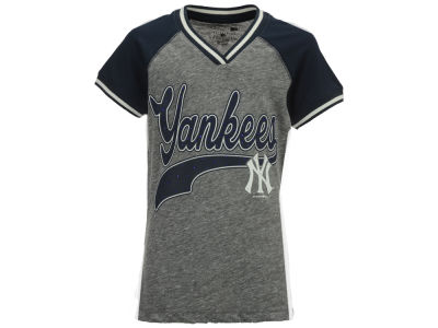 New York Yankees 5th & Ocean MLB Girls Rhinestone Script T-Shirt