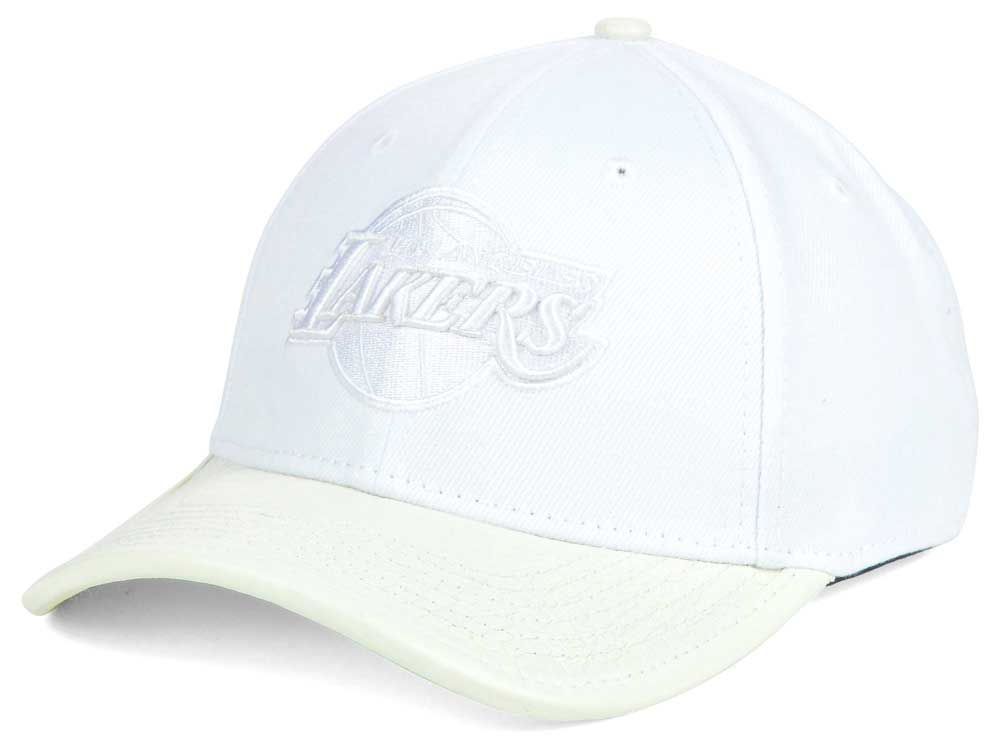 70d2579787e Los Angeles Lakers Pro Standard NBA Premium White On White Curve Strapback  Cap
