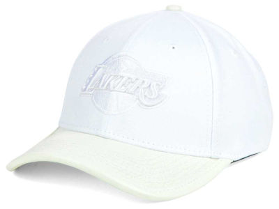 Los Angeles Lakers Pro Standard NBA Premium White On White Curve Strapback Cap