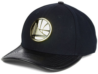 Golden State Warriors Pro Standard NBA Premuim Gold Metal Curve Strapback Cap