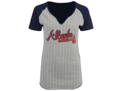 Atlanta Braves Majestic MLB Women's From The Stretch Pinstripe T-Shirt