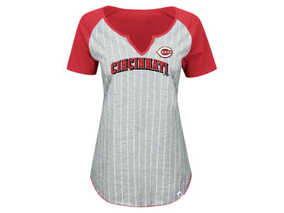 Cincinnati Reds Majestic MLB Women's From The Stretch Pinstripe T-Shirt