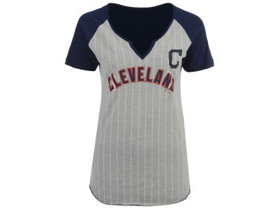 Cleveland Indians Majestic MLB Women's From The Stretch Pinstripe T-Shirt