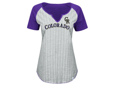 Colorado Rockies Majestic MLB Women's From The Stretch Pinstripe T-Shirt