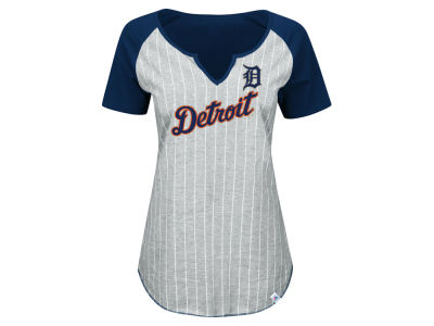 Detroit Tigers Majestic MLB Women's From The Stretch Pinstripe T-Shirt