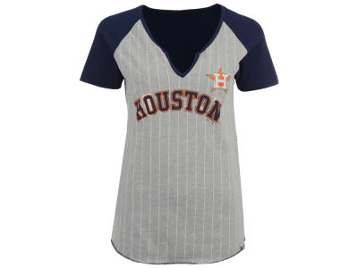 Houston Astros Majestic MLB Women's From The Stretch Pinstripe T-Shirt