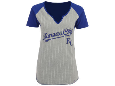 Kansas City Royals Majestic MLB Women's From The Stretch Pinstripe T-Shirt